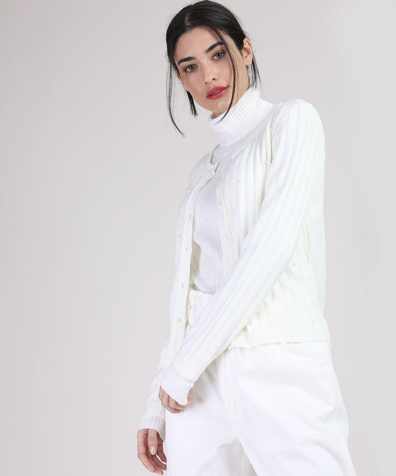 Cardigan-de-Trico-Feminino-Canelado-com-Perolas-Decote-Redondo-Off-White-9942029-Off_White_1