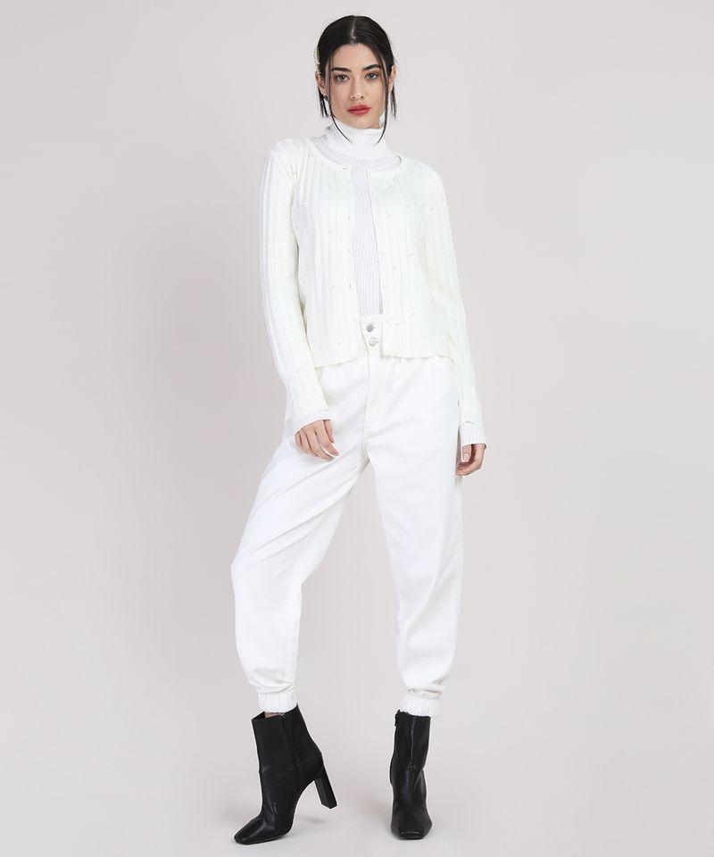 Cardigan-de-Trico-Feminino-Canelado-com-Perolas-Decote-Redondo-Off-White-9942029-Off_White_2