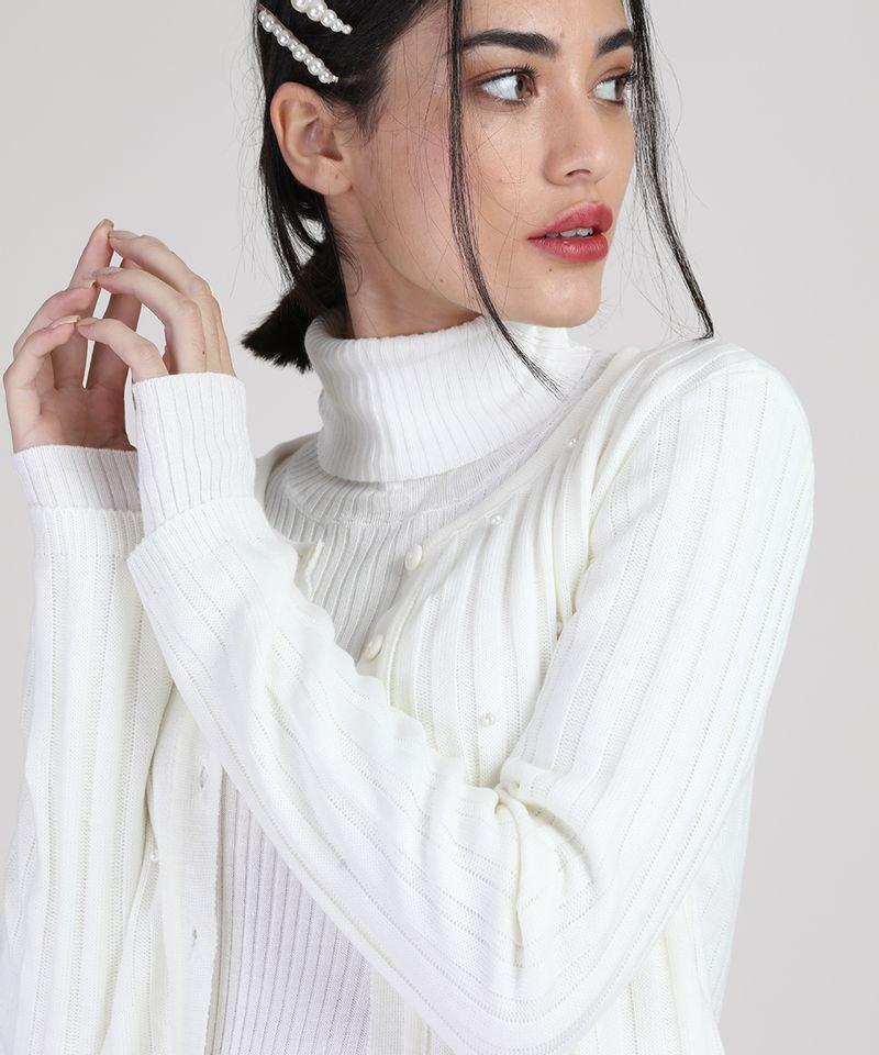 Cardigan-de-Trico-Feminino-Canelado-com-Perolas-Decote-Redondo-Off-White-9942029-Off_White_4