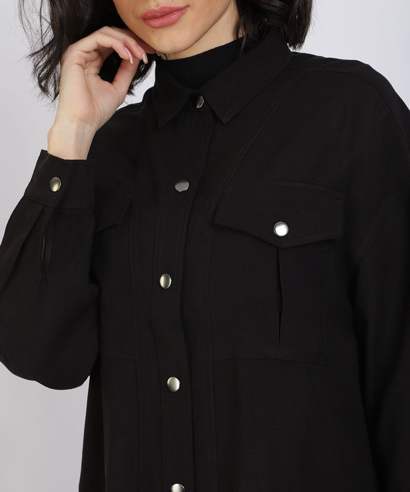 Camisa-Feminina-Manga-Longa-com-Botoes-de-Pressao-Preta-9885985-Preto_4