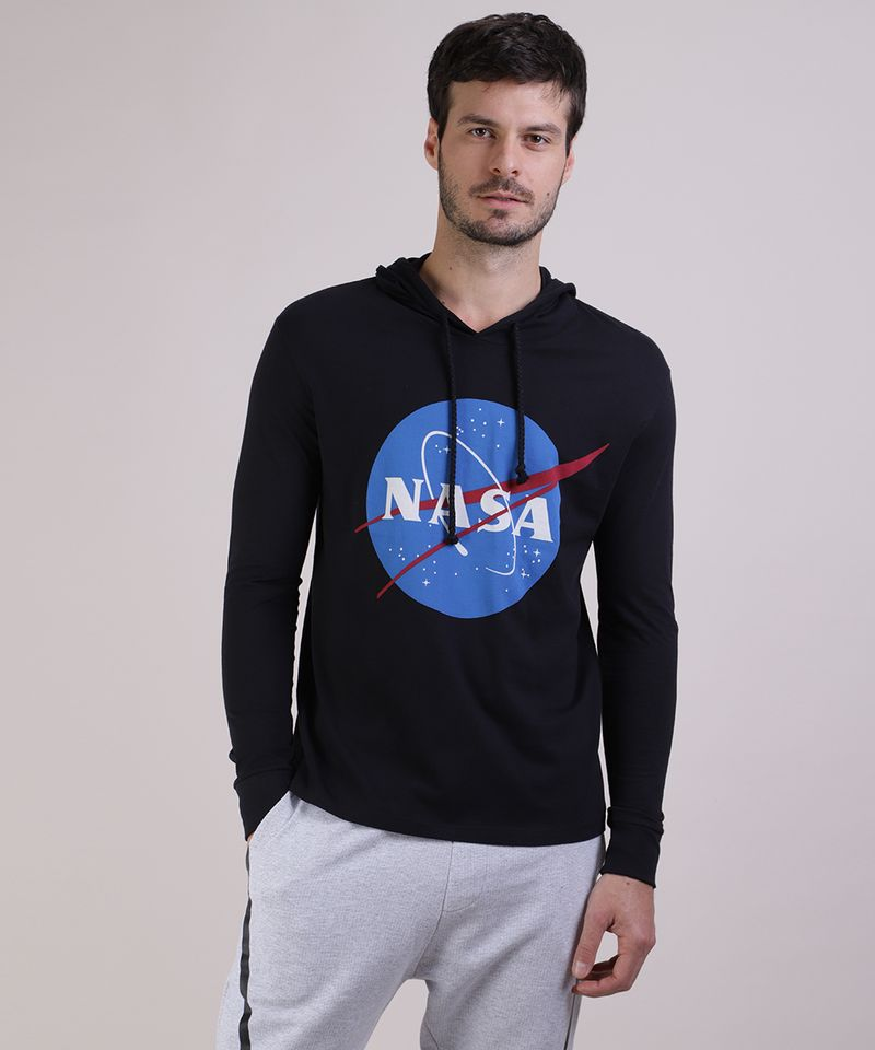 Camiseta-Masculina-NASA-com-Capuz-Manga-Longa-Preta-9953260-Preto_1