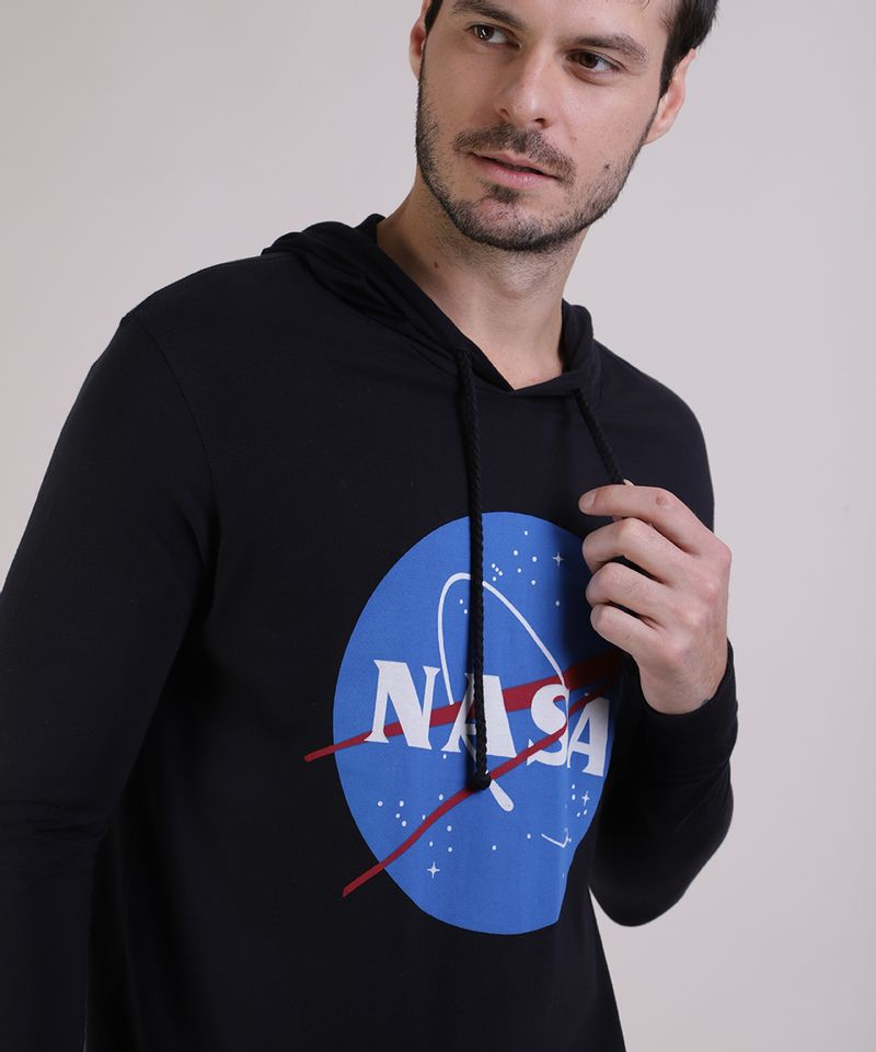Camiseta-Masculina-NASA-com-Capuz-Manga-Longa-Preta-9953260-Preto_4