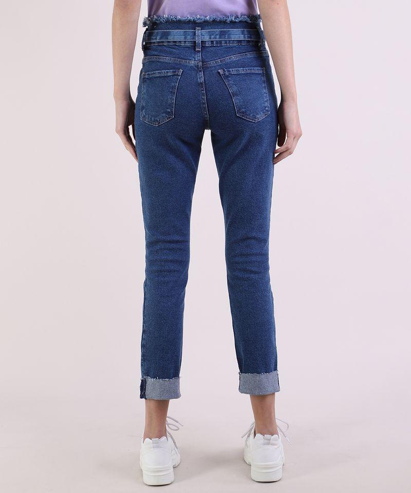 Calca-Jeans-Feminina-Skinny-Clochard-Cintura-Super-Alta-com-Faixa-Para-Amarracao-Azul-Escuro-9950643-Azul_Escuro_2