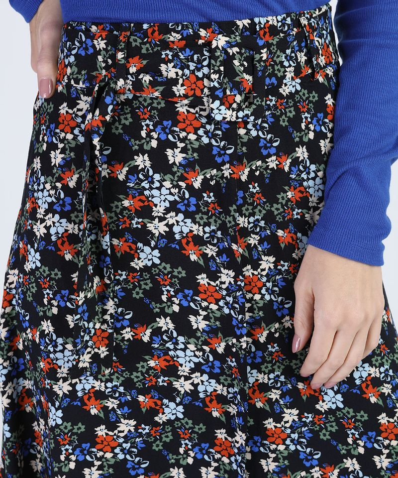 Saia-Feminina-Midi-Estampada-Floral-com-Fenda-e-Cinto-Preta-9943249-Preto_4