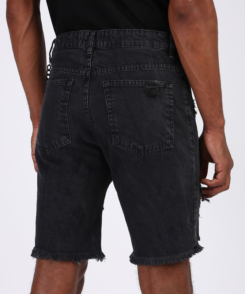 Bermuda-Jeans-Masculina-Slim-Destroyed-com-Corrente-Preta-9943527-Preto_2