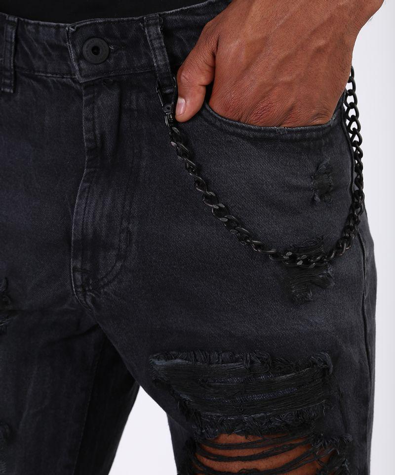 Bermuda-Jeans-Masculina-Slim-Destroyed-com-Corrente-Preta-9943527-Preto_4