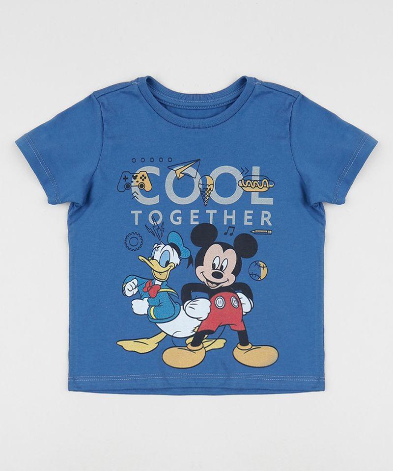 Camiseta-Infantil-Donald-e-Mickey-Manga-Curta-Gola-Careca-Azul-9956113-Azul_1