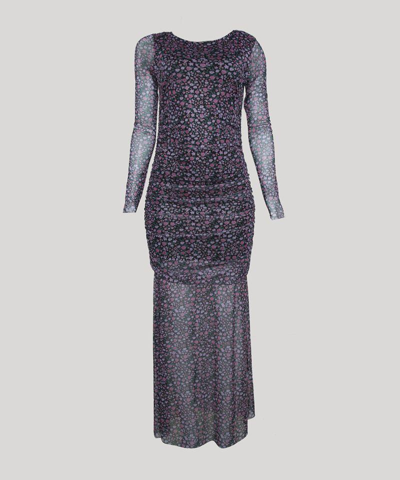 Vestido-de-Tule-Feminino-Mindset-Longo-Estampado-Floral-com-Franzido-Manga-Longa-Preto-9963103-Preto_5