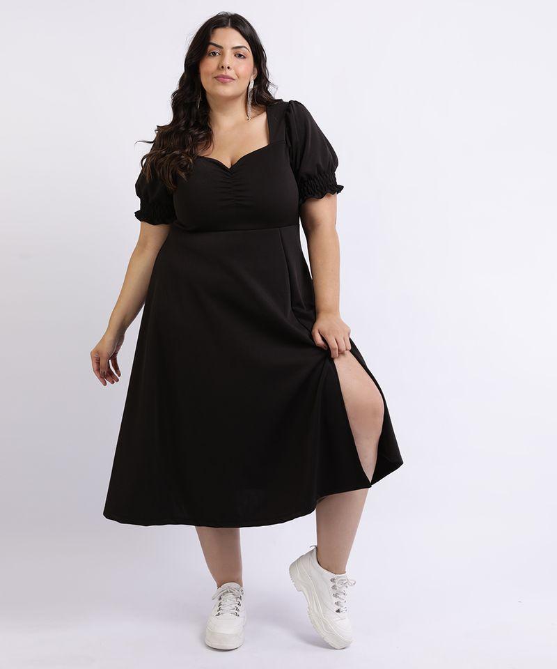 Vestido-Feminino-Mindset-Plus-Size-Midi-com-Fenda-Decote-Coracao-Manga-Curta-Bufante-Preto-9962172-Preto_1
