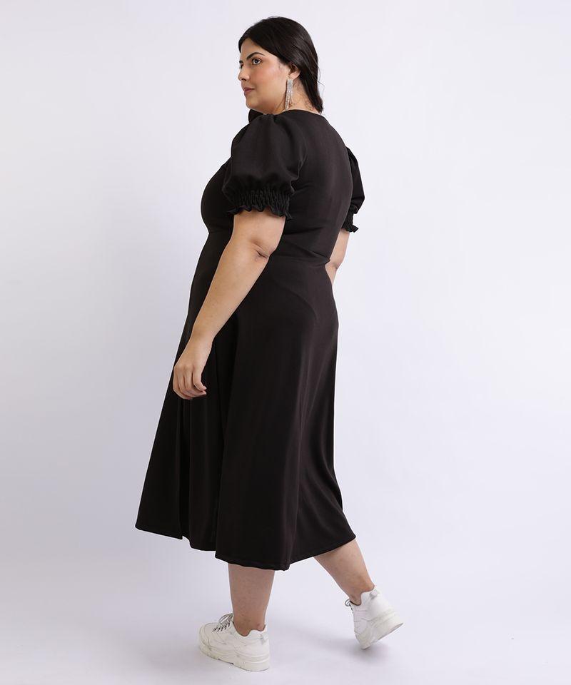 Vestido-Feminino-Mindset-Plus-Size-Midi-com-Fenda-Decote-Coracao-Manga-Curta-Bufante-Preto-9962172-Preto_2