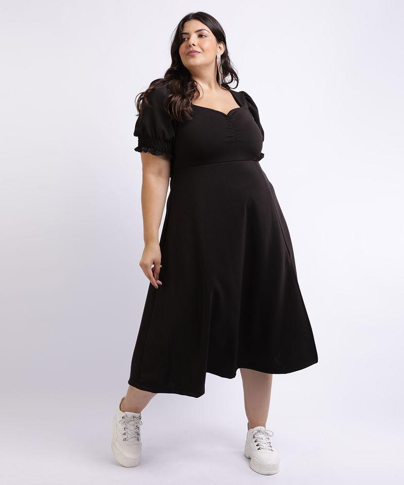 Vestido-Feminino-Mindset-Plus-Size-Midi-com-Fenda-Decote-Coracao-Manga-Curta-Bufante-Preto-9962172-Preto_3