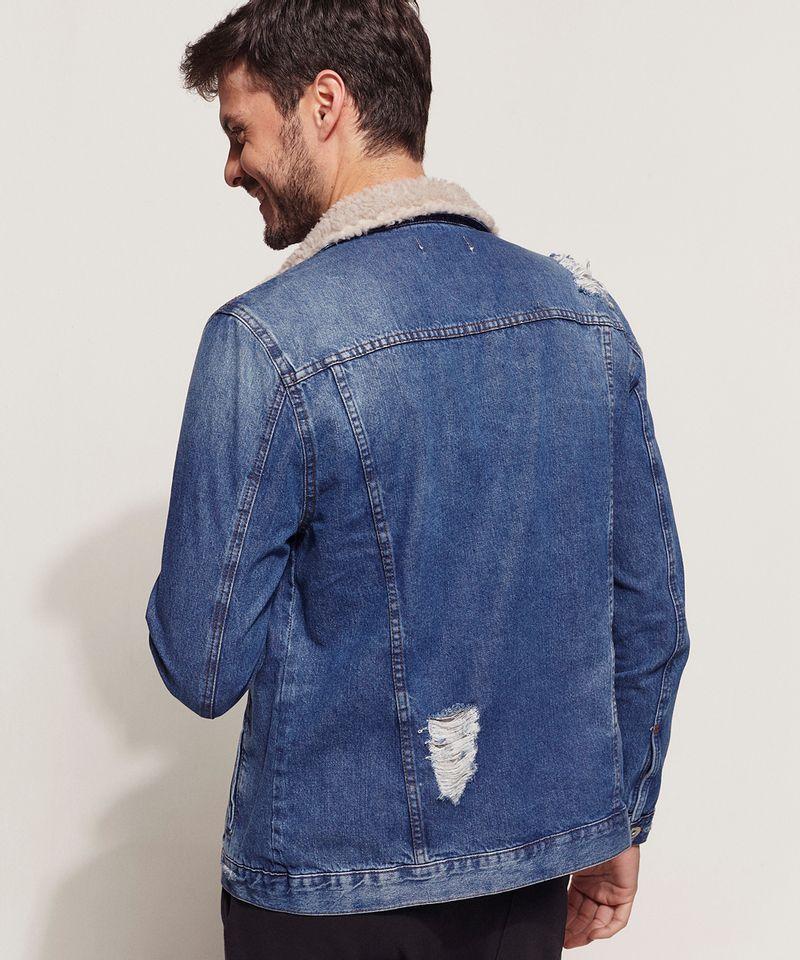 Jaqueta Jeans Masculina com Pelo Costas