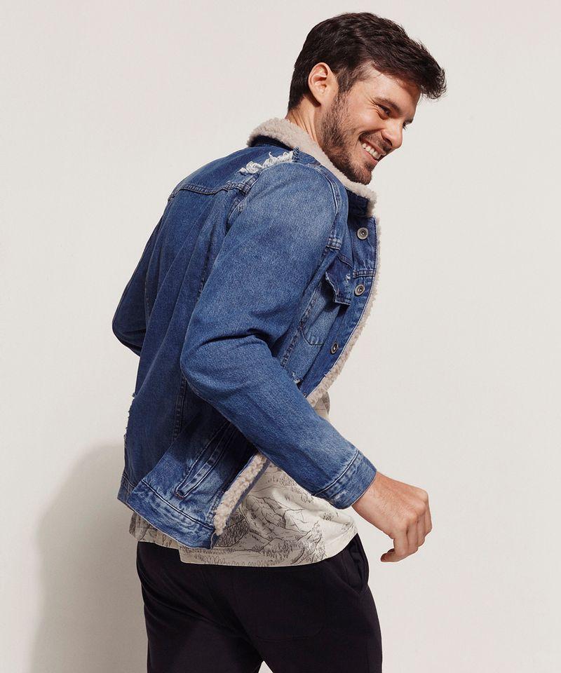 Jaqueta Jeans Masculina com Pelo Visão Lateral
