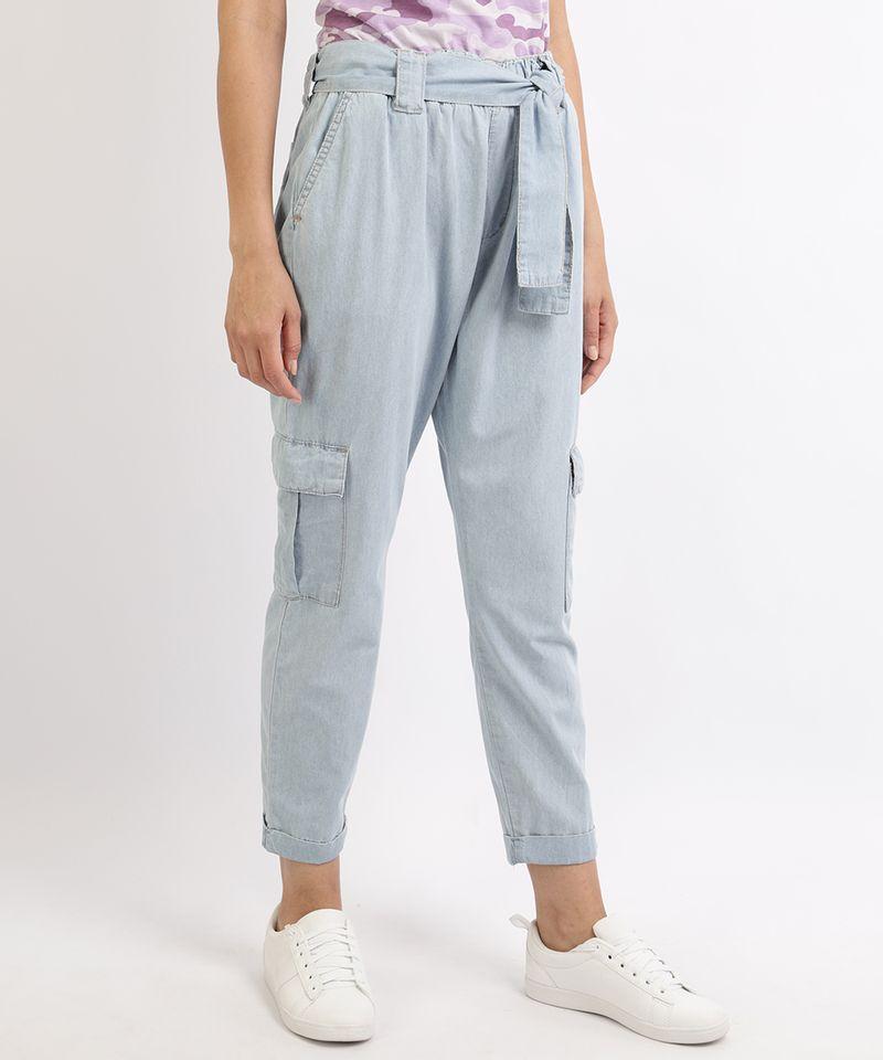 Calca-Jeans-Feminina-Jogger-Cargo-com-Faixa-para-Amarrar-Azul-9961389-Azul_1