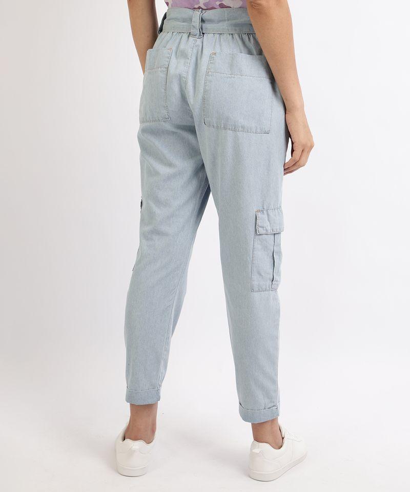 Calca-Jeans-Feminina-Jogger-Cargo-com-Faixa-para-Amarrar-Azul-9961389-Azul_2