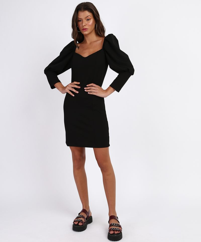Vestido-Feminino-Curto-Manga-Bufante-Decote-Coracao-Preto-9962972-Preto_3