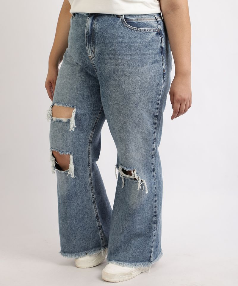 Calca-Jeans-Feminina-Plus-Size-Wide-Pantalona-Cintura-Super-Alta-Destroyed-com-Barra-Desfiada-Azul-Medio-9965144-Azul_Medio_1