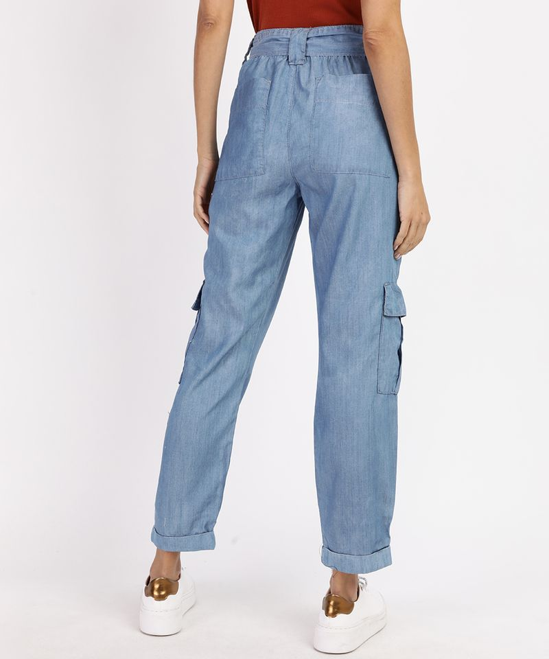 Calca-Jeans-Feminina-Cargo-Cintura-Alta-com-Faixa-para-Amarrar-Azul-Medio-9961386-Azul_Medio_2