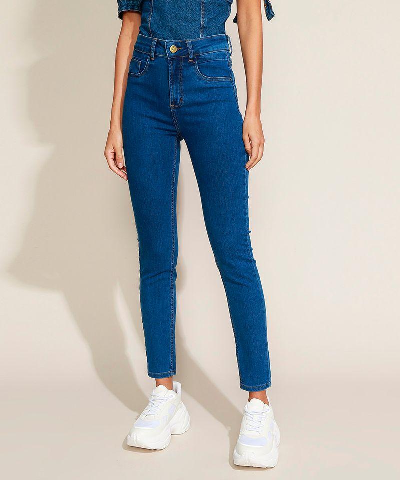 Calca-Jeans-Feminina-Sawary-Cigarrete-Cintura-Alta-com-Pences-Azul-Medio-9974032-Azul_Medio_1