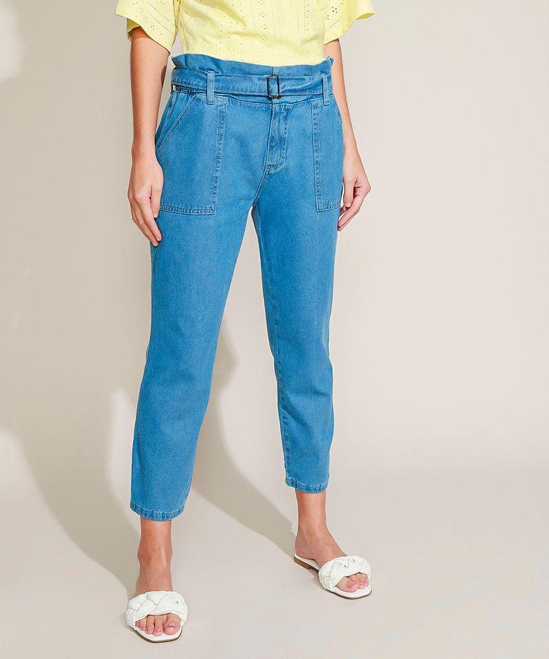Calca-Jeans-Feminina-Clochard-Cintura-Super-Alta-com-Cinto-Azul-Medio-9945834-Azul_Medio_1