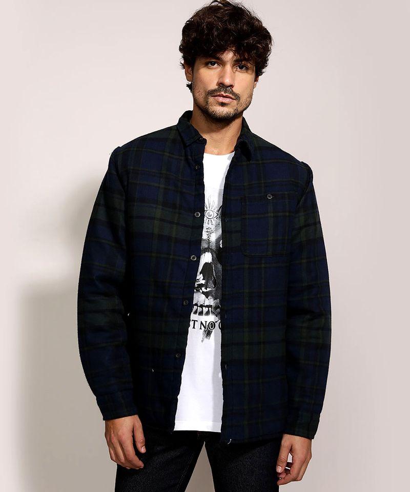 Camisa-de-Flanela-Masculina-Overshirt-Estampada-Xadrez-Manga-Longa-Azul-Marinho-9812199-Azul_Marinho_1