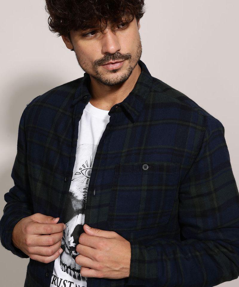 Camisa-de-Flanela-Masculina-Overshirt-Estampada-Xadrez-Manga-Longa-Azul-Marinho-9812199-Azul_Marinho_4