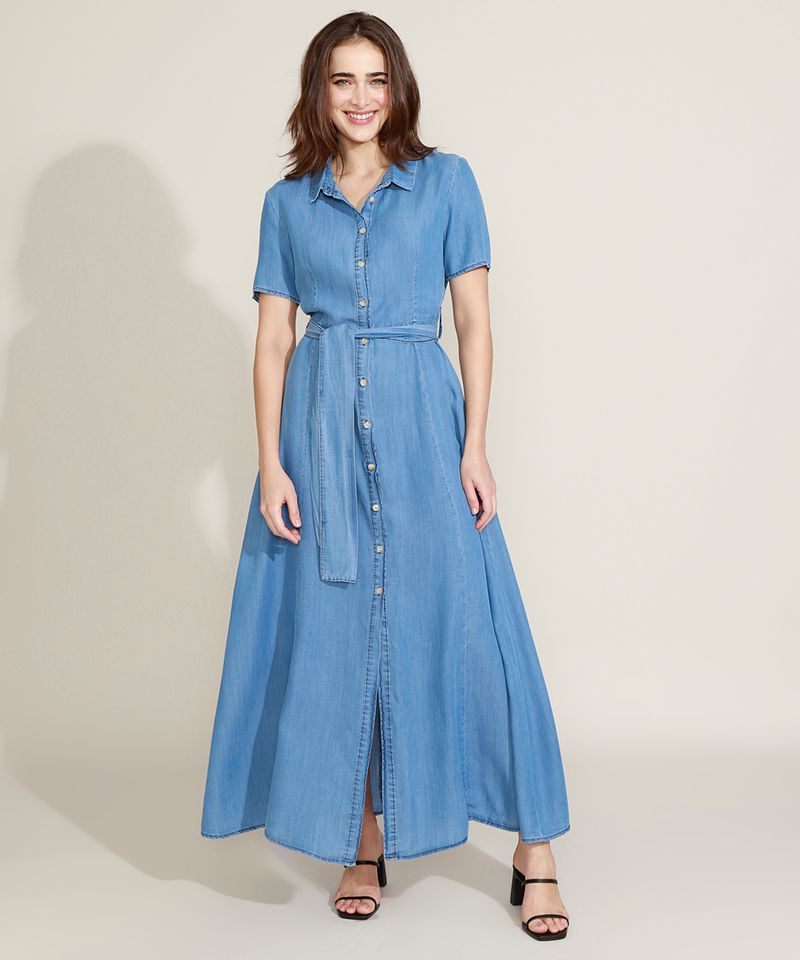 Vestido-Chemise-Jeans-Feminino-Mindset-Longo-com-Faixa-para-Amarrar-Manga-Curta-Azul-Medio-9721627-Azul_Medio_1_1
