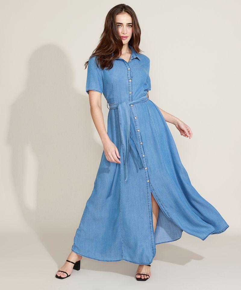 Vestido-Chemise-Jeans-Feminino-Mindset-Longo-com-Faixa-para-Amarrar-Manga-Curta-Azul-Medio-9721627-Azul_Medio_1_3