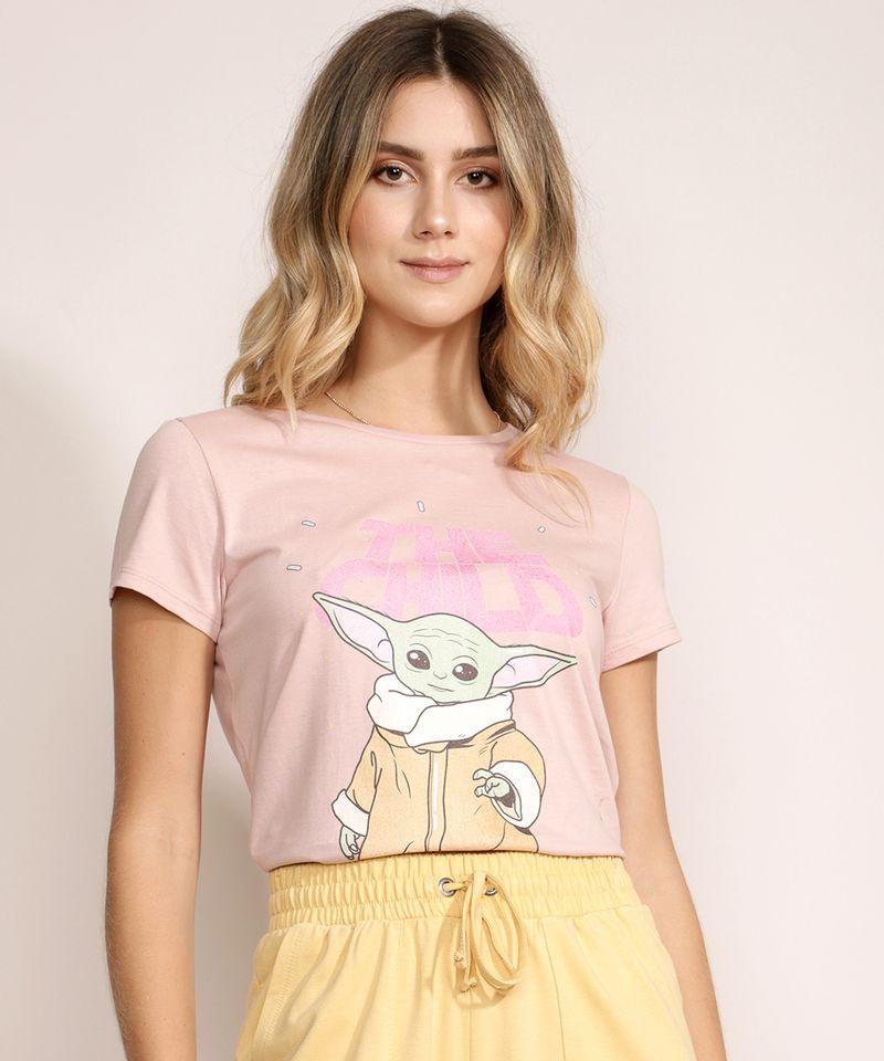 Blusa-Feminina-Baby-Yoda-Mandalorian-Manga-Curta-Decote-Redondo-Rosa-9970251-Rosa_1
