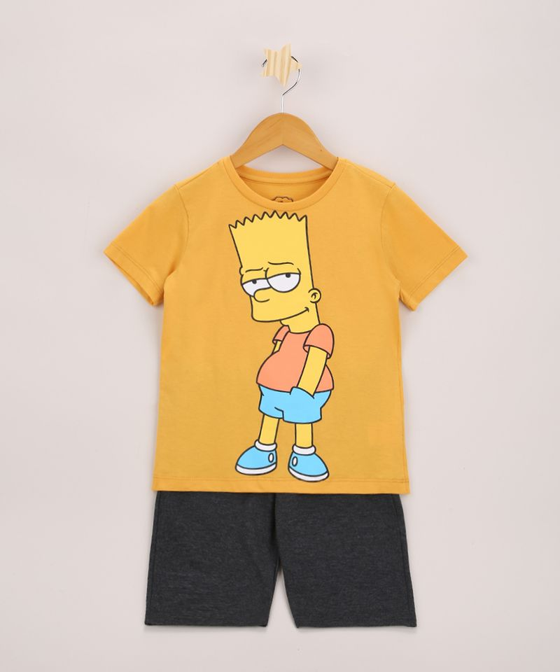 Conjunto-Infantil-Bart-Simpson-de-Camiseta-Manga-Curta-Amarela---Bermuda-de-Moletom-Cinza-Mescla-9968189-Cinza_Mescla_1