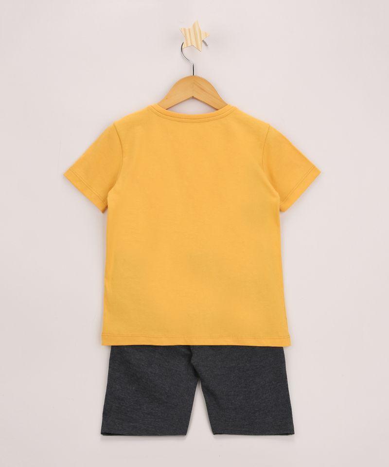 Conjunto-Infantil-Bart-Simpson-de-Camiseta-Manga-Curta-Amarela---Bermuda-de-Moletom-Cinza-Mescla-9968189-Cinza_Mescla_3