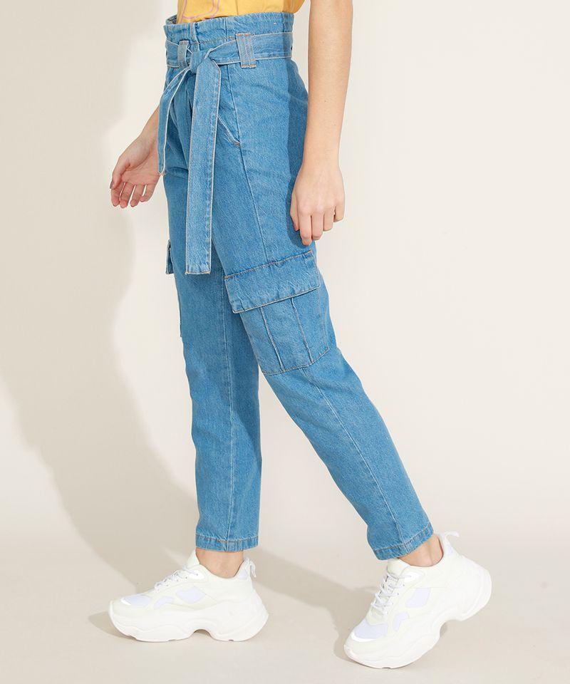 Calca-Jeans-Feminina-Clochard-Cargo-Cintura-Super-Alta-com-Faixa-para-Amarrar-Azul-Medio-9964754-Azul_Medio_1