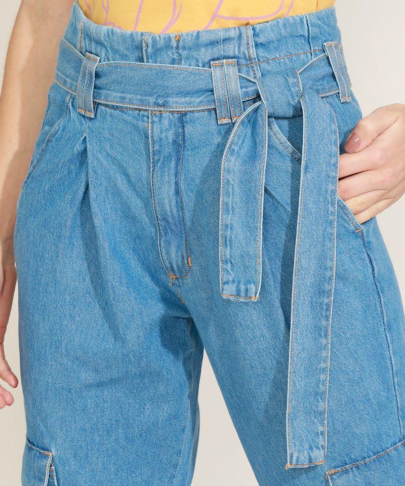 Calca-Jeans-Feminina-Clochard-Cargo-Cintura-Super-Alta-com-Faixa-para-Amarrar-Azul-Medio-9964754-Azul_Medio_6