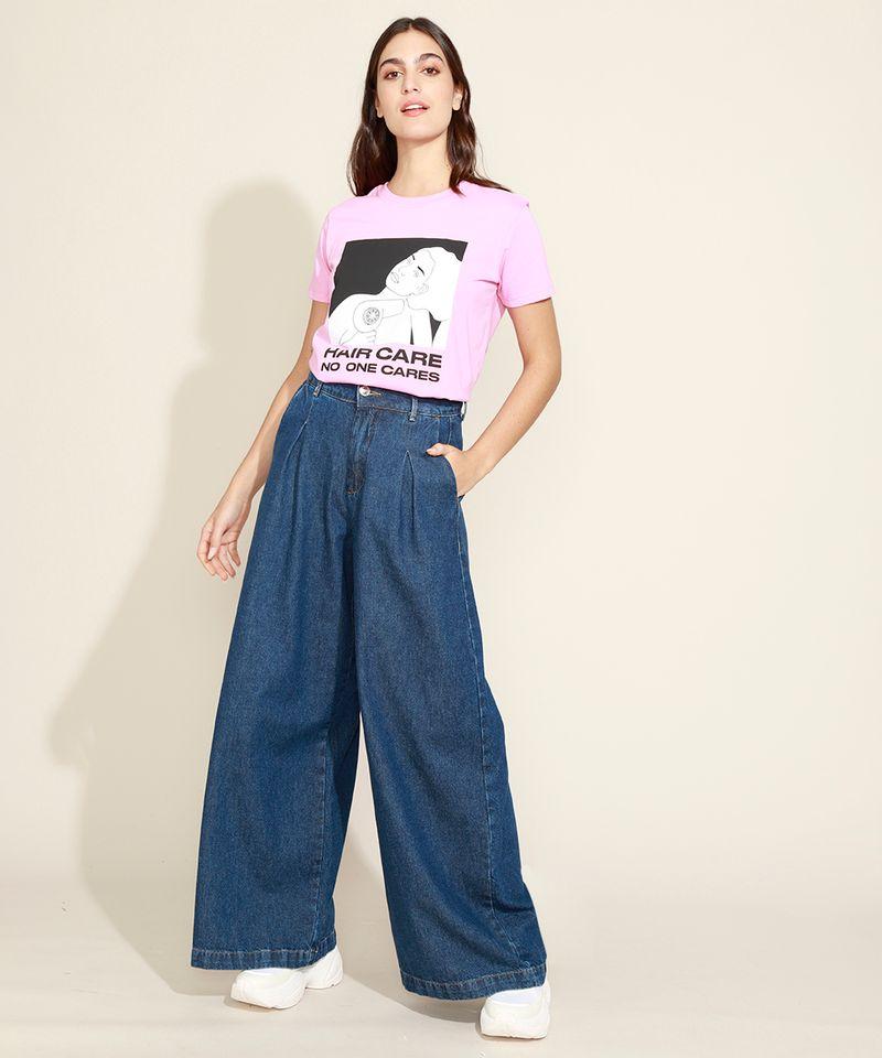 T-Shirt-Feminina-Mindset--Hair-Care--Manga-Curta-Decote-Redondo-Rosa-9974966-Rosa_3