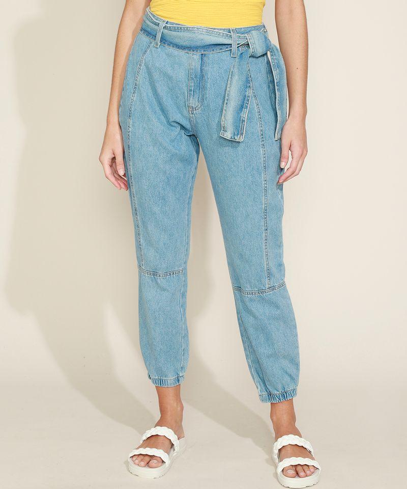Calca-Jeans-Feminina-Jogger-Cintura-Media-com-Faixa-para-Amarrar-Azul-Claro-9971597-Azul_Claro_5