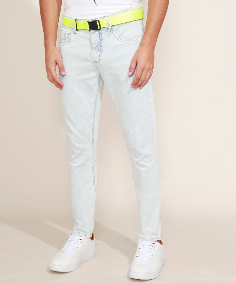 Calca-Jeans-Masculina-Super-Skinny-com-Cinto-Jeans-Claro-9966118-Jeans_Claro_1