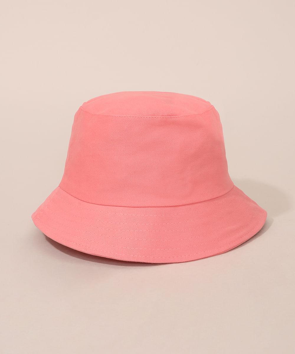 Chapéu <em>bucket hat</em> de sarja unissex rosa, da C&A