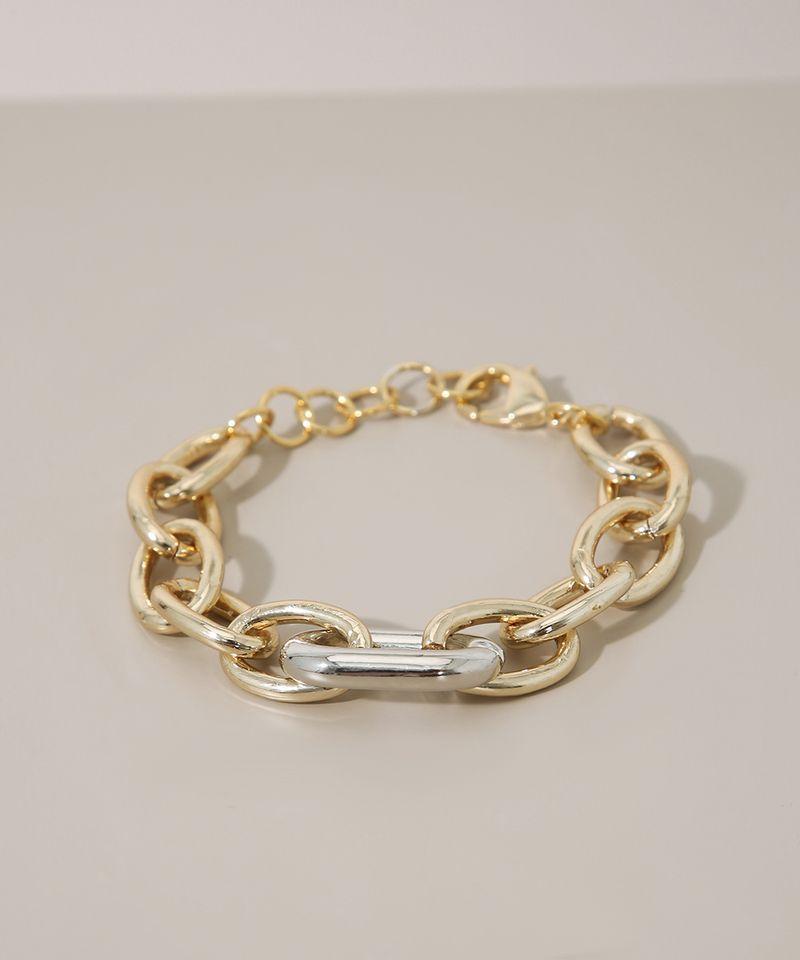 Pulseira-Feminina-Corrente-Grossa-com-Elo-Dourada-9976679-Dourado_3