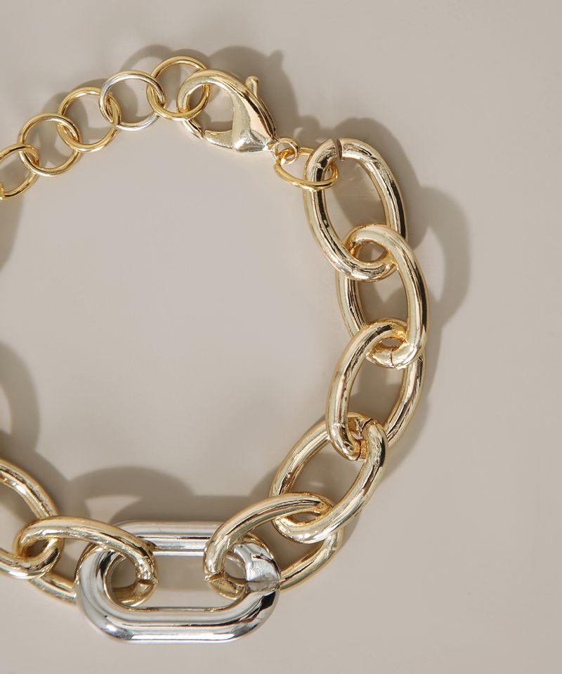 Pulseira-Feminina-Corrente-Grossa-com-Elo-Dourada-9976679-Dourado_4