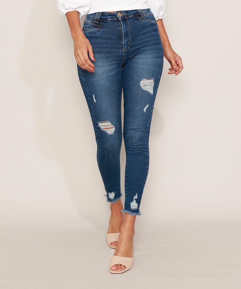 Calca-Jeans-Feminina-Sawary-Cigarrete-Push-Up-Super-Lipo-Cintura-Alta-Destroyed-Azul-Escuro-9980183-Azul_Escuro_1