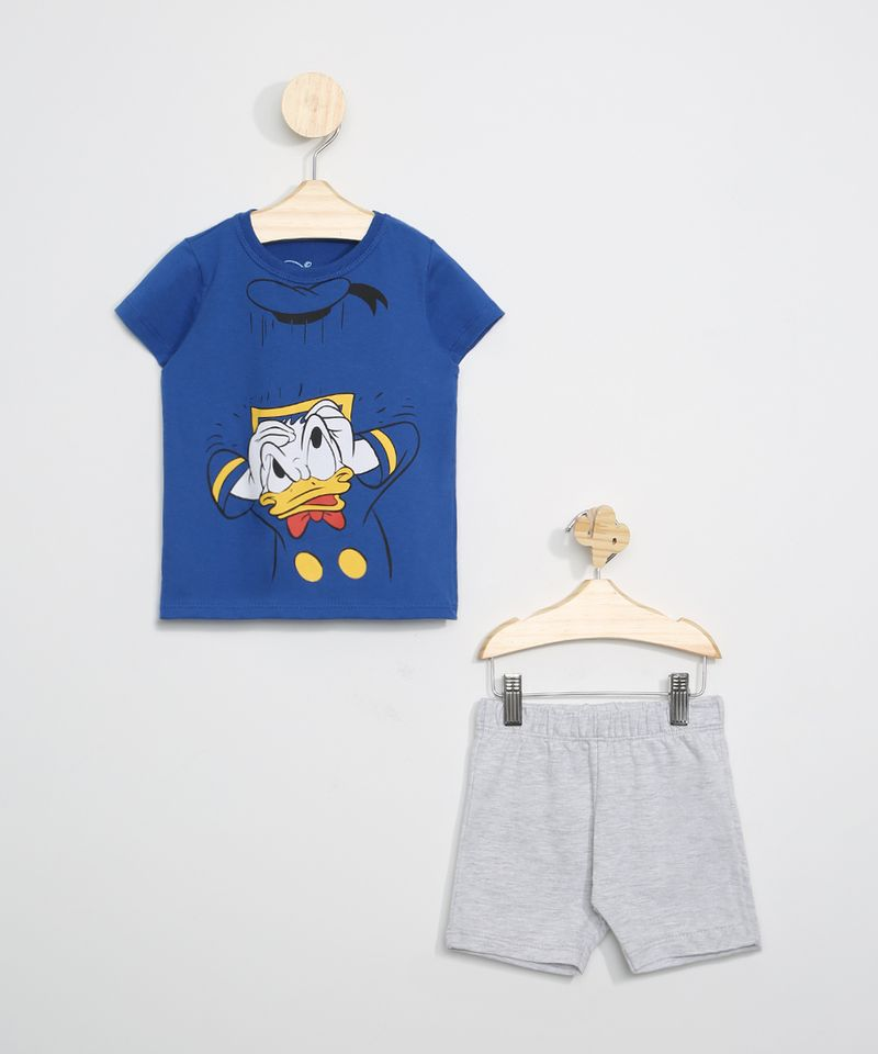 Conjunto-Infantil-de-Camiseta-Pato-Donald-Azul---Bermuda--Cinza-Mescla-Claro-9963492-Cinza_Mescla_Claro_1
