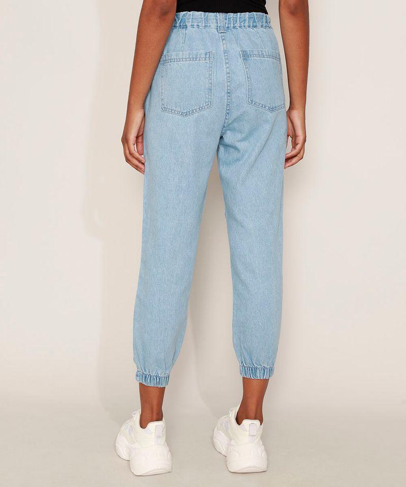 Calca-Jeans-Feminina-Jogger-Cintura-Alta-com-Bolsos-Azul-Medio-9594591-Azul_Medio_2