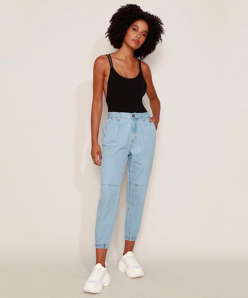 Calca-Jeans-Feminina-Jogger-Cintura-Alta-com-Bolsos-Azul-Medio-9594591-Azul_Medio_3