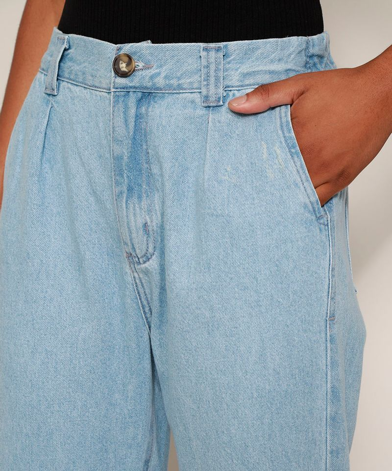 Calca-Jeans-Feminina-Jogger-Cintura-Alta-com-Bolsos-Azul-Medio-9594591-Azul_Medio_6