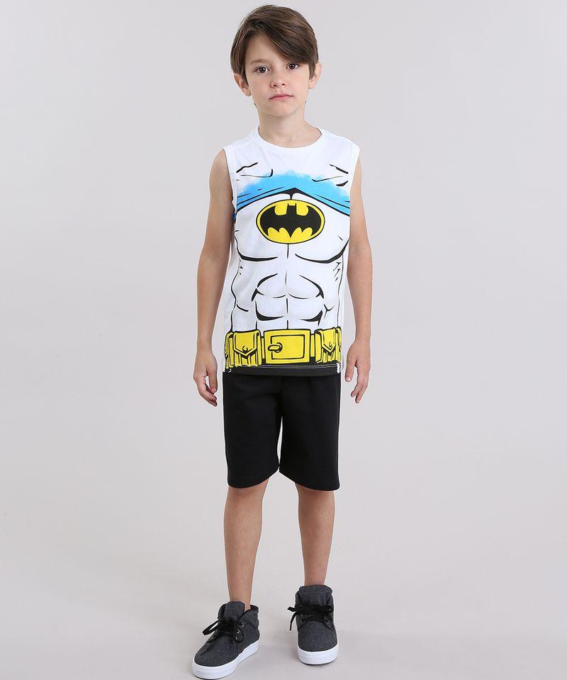 Conjunto-Batman-de-Regata-Branca---Bermuda-em-Moletom-Preta-8403980-Preto_1