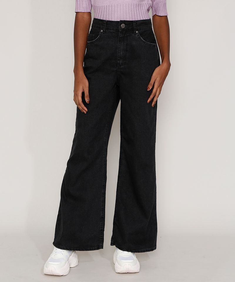 Calça Pantalona Preta Jeans Feminina Frente