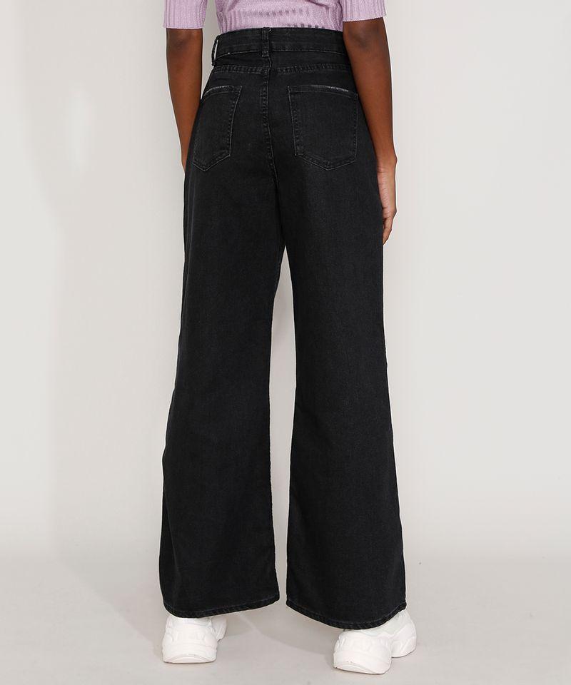 Calça Pantalona Preta Jeans Feminina em Promoção Costas