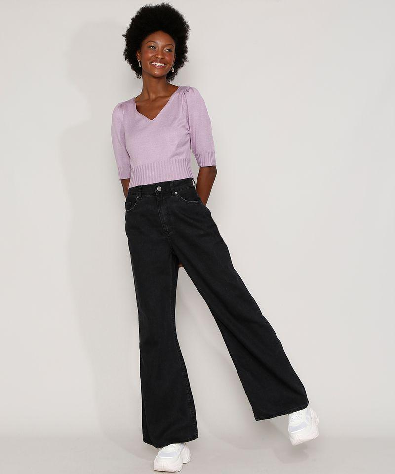 Calça Pantalona Preta Jeans Feminina em Promoção Lateral