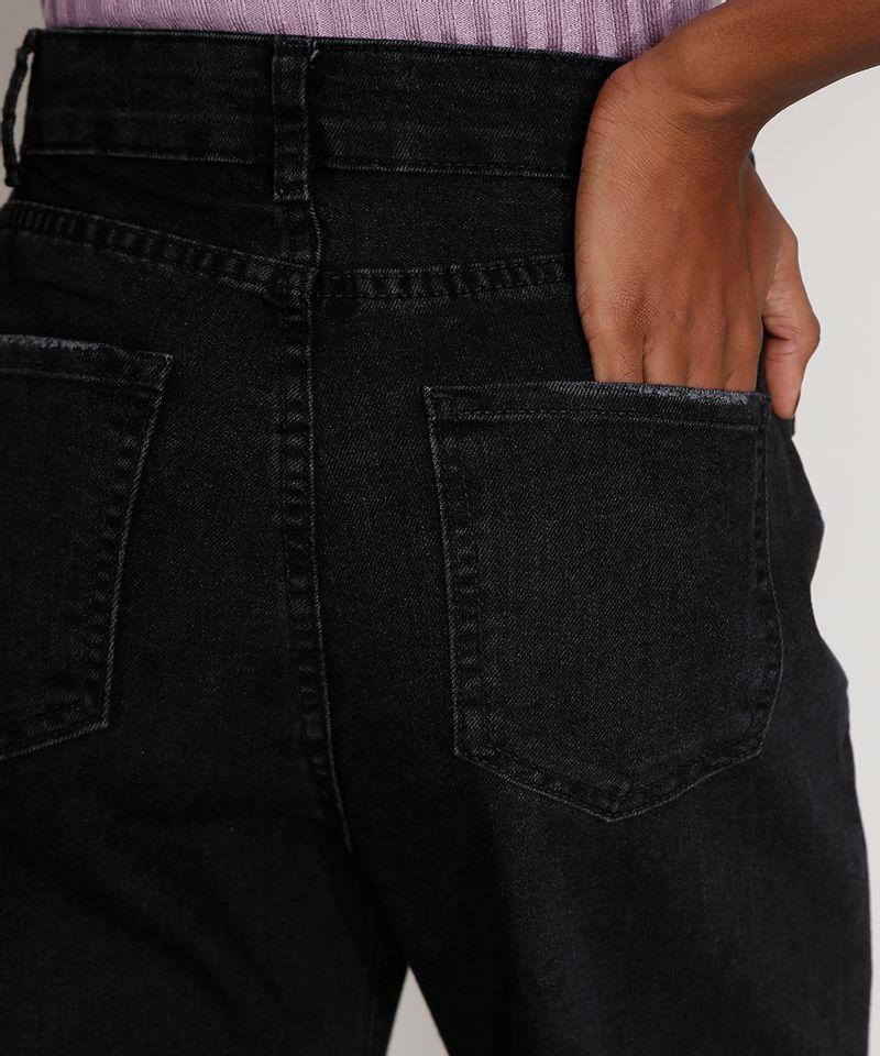 Calça Pantalona Preta Jeans Feminina Bolso