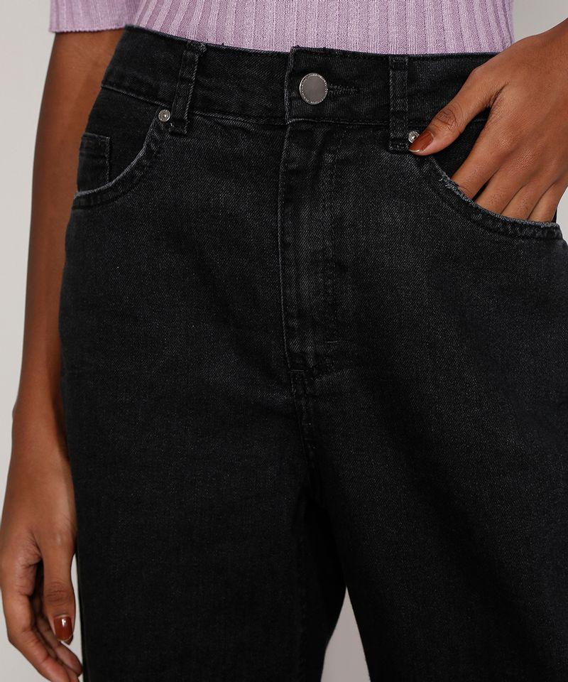 Calça Pantalona Preta Jeans Feminina Costura